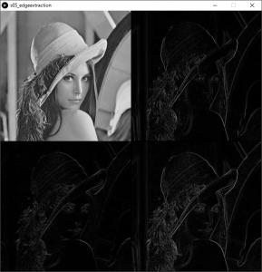 左上:原画像,右上:横方向の1次微分画像,左下:縦方向の1次微分画像,右下:エッジ強度画像