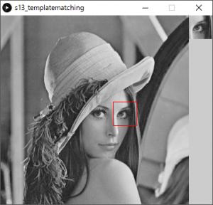 左:探索対象画像,左:テンプレート画像(目の部分),赤枠:テンプレートマッチングによって検出された位置