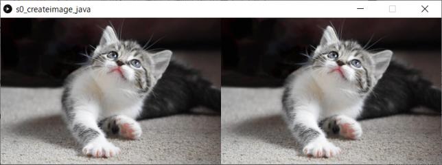 画像の作成、画素値の読み書き、画像ファイルへの保存(左:原画像、右:複製した画像)