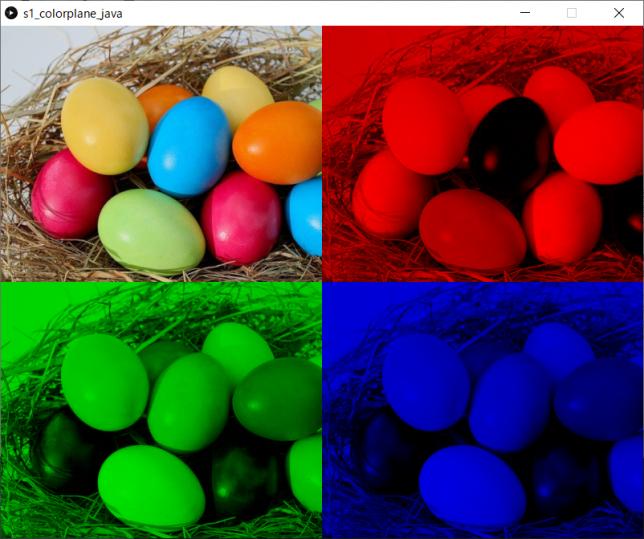 カラー画像をRGBの各プレーンにわけて表示(左上:原画像、右上:赤プレーン、左下:緑プレーン、右下:青プレーン)