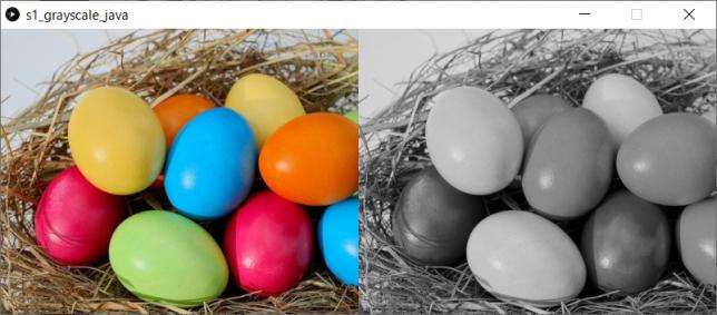 カラー画像をグレイスケール画像に変換(左:原画像、右:変換後画像)
