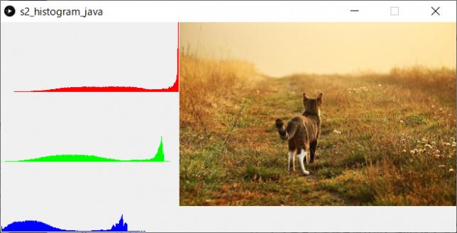 ヒストグラムの計算と描画(左:ヒストグラム、右:原画像